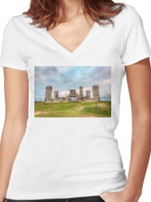 Old Stone Castle, France Women's Fitted V-Neck T-Shirt