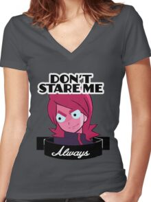 """Chedr: """"DON'T STARE ME ALWAYS"""" Women's Fitted V-Neck T-Shirt"""