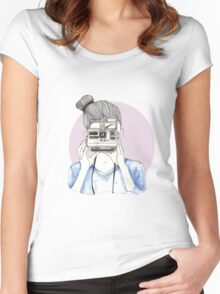 Pastel Polaroid Girl Women's Fitted Scoop T-Shirt