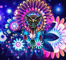Owl Dream Catcher Full Color by Thorinn