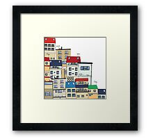 Old slum city cartoon Framed Print