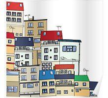 Old slum city cartoon Poster