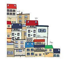 Old slum city cartoon by Richard Laschon
