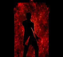 12th Doctor Silhouette Against TARDIS (red) by shaneisadragon