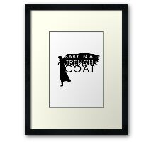 BABY IN A TRENCH COAT Framed Print