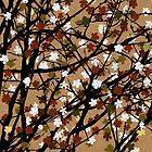 Sepia floral tree by Richard Laschon