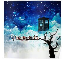Owl Tardis Starry Night Poster