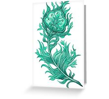 - Turquoise feather - Greeting Card