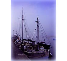 Boats in Morning Mist Photographic Print