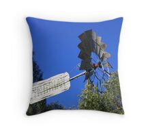 Windmill and Blue Throw Pillow