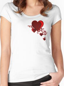 squiggle hearts Women's Fitted Scoop T-Shirt