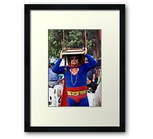 Superman Takes Cover! Framed Print