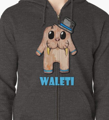 Waleti the Yeti Walrus with name Zipped Hoodie
