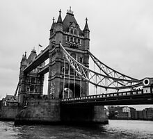Tower Bridge Black and White by PatiDesigns