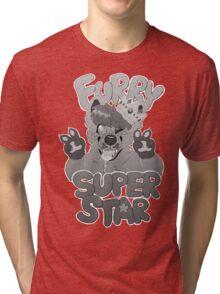 FURRY SUPERSTAR - grayscale Tri-blend T-Shirt