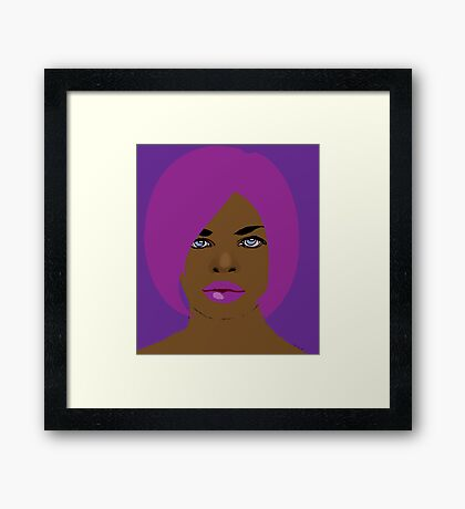 She likes purple and pink Framed Print