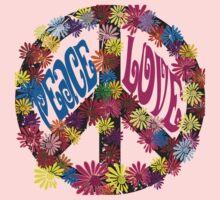 Flower Power Peace & Love Hippie  Tee Shirt One Piece - Long Sleeve