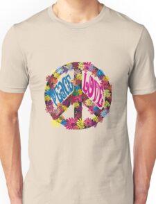 Flower Power Peace & Love Hippie  Tee Shirt Unisex T-Shirt