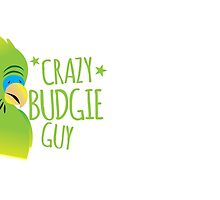 Crazy Budgie Guy with green pet budgerigar by jazzydevil