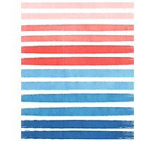 Summer Stripe - Nautical, classic, blue, red, pink, trendy cell phone case Photographic Print