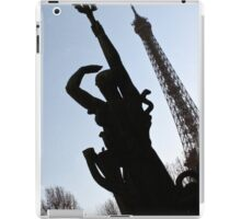 Silhouetted companion to the Eiffel Tower, Paris iPad Case/Skin