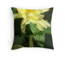 Yellow Dalia Impression Throw Pillow