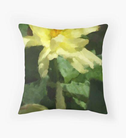 Yellow Dalia Impression Throw Pillow