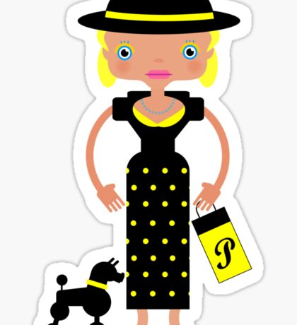 French Chic girl with poodle Sticker