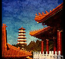 Nan Tien Buddhist Temple - view of Pagoda from Main temple by Vanessa Pike-Russell
