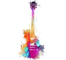 Funky colored guitar Photographic Print
