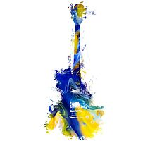 Guitar Yellow Blue Photographic Print