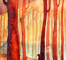 red forest, sunset by OlgaBerlet