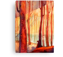 red forest, sunset Canvas Print