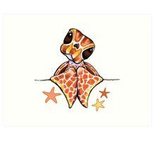 Baby Brown Sea Turtle Starfish Art Print