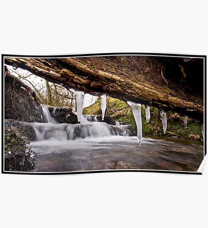 Icicle waterfall at Downham Poster