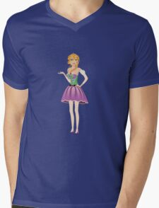 Blonde girl in spring dress Mens V-Neck T-Shirt