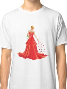 Blonde girl in Red dress Classic T-Shirt