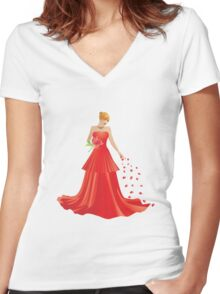 Blonde girl in Red dress Women's Fitted V-Neck T-Shirt