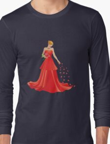 Blonde girl in Red dress Long Sleeve T-Shirt