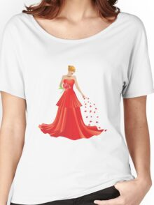 Blonde girl in Red dress Women's Relaxed Fit T-Shirt
