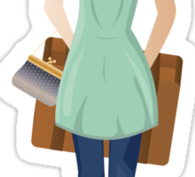 Woman with Suitcase 2 Sticker