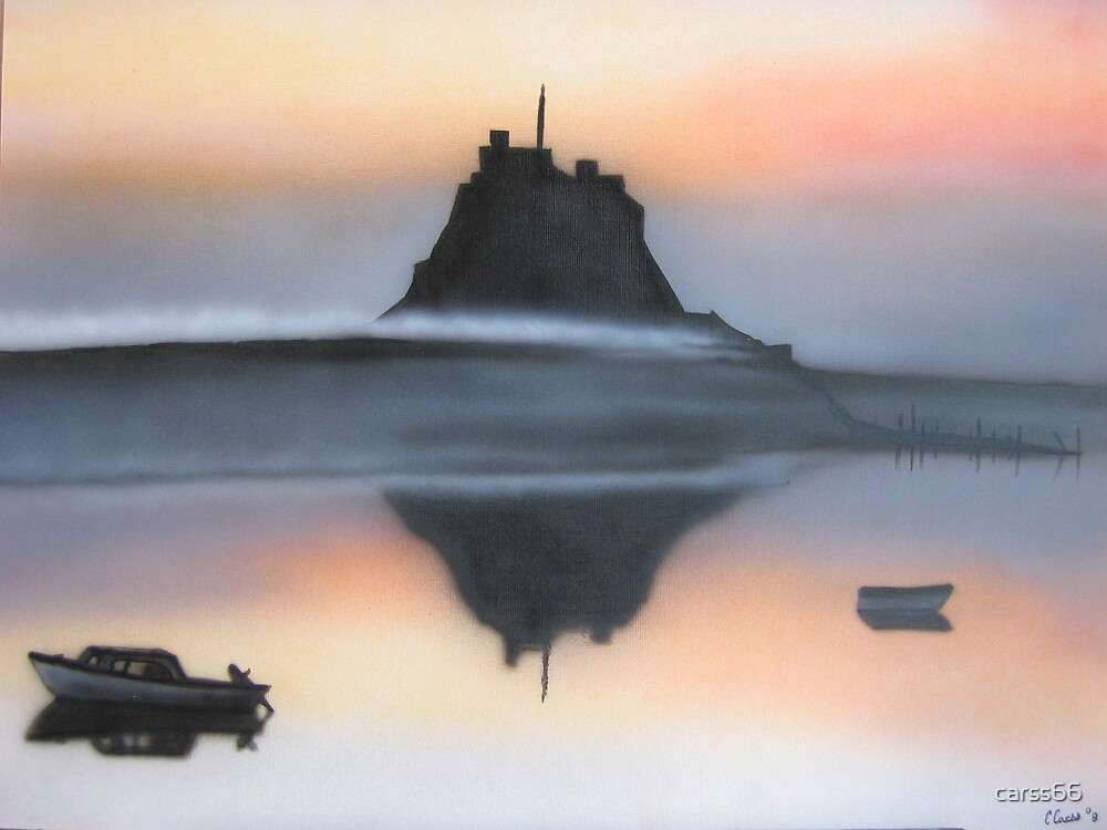 sunset over lindisfarne castle by carss66