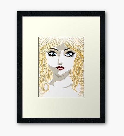 Blond girl with blue eyes Framed Print