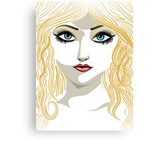 Blond girl with blue eyes Canvas Print