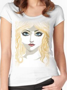 Blond girl with blue eyes Women's Fitted Scoop T-Shirt