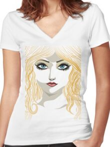 Blond girl with blue eyes Women's Fitted V-Neck T-Shirt