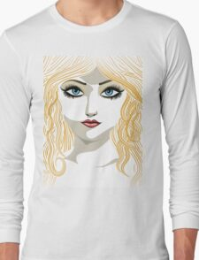 Blond girl with blue eyes Long Sleeve T-Shirt
