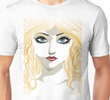 Blond girl with blue eyes Unisex T-Shirt