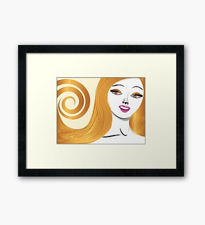 Blond girl with yellow eyes Framed Print