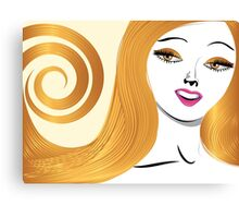 Blond girl with yellow eyes Canvas Print